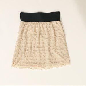 Express blush/ cream ruffled mini skirt xs